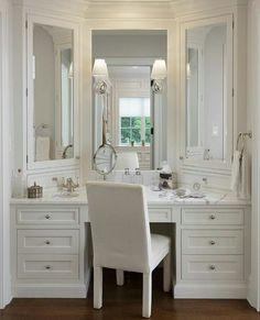 Walk in closet vanity.