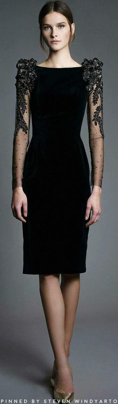 Chana Marelus Fall 2017 At least it would cover creepy arms. Little Black Dress Outfit, Black Dress Outfits, Fall Outfits, Elegant Dresses, Pretty Dresses, Modelos Fashion, Elegantes Outfit, Short Dresses, Formal Dresses