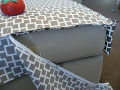 DIY: Reupholstering /Slipcovering an Ottoman --so I can use the ottoman/chest in the guest room