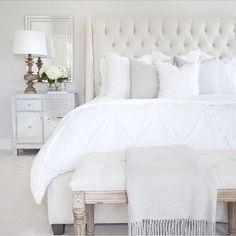 Bedroom inspo tufted linen bed & bench classic gray Benjamin Moore mirrored nightstand wood lamp target