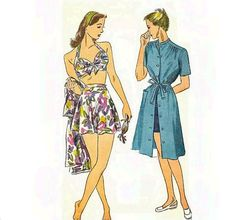 1940s Bathing Suit Pattern Halter Bra Top with by CherryCorners