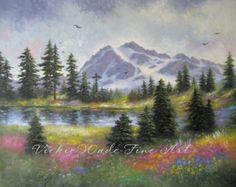 Mount Shuksan Original Oil Painting 24X30 landscape mountain art meadow trees flowers, Vickie Wade art