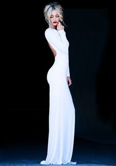 White Plain Cut Out Slim Dacron Maxi Dress