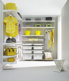 Elfa Shelving System for closet and storage room.