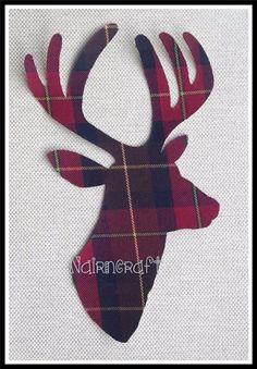 1 x8in Scottish Stag Head,Maroon 4 Tartan Wool,Cut Out,Iron & Sew On,Appliqué 2