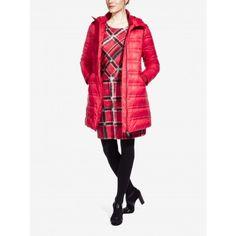 Lange gewatteerde jas - Pop Red /