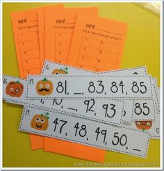 Pumpkin Fill-in-the-Missing Numbers Activity (from Doodle Bugs Teaching)