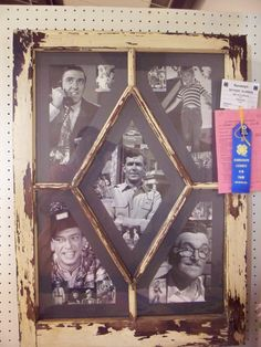 cute for guest bedroom minus Andy Griffith pics Fair Projects, Wood Projects, 4 H Clover, Window Frame Art, 4h Fair, Handmade Crafts, Diy Crafts, The Andy Griffith Show, Frames Ideas
