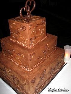 Chocolate Wedding Cake - chocolate cake, chocolate mousse, and chocolate ganache