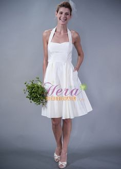 Halter neck gown , short a line skirt , fashion pocket design. Suitable for informal wedding at beach or pageant . $128.00
