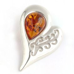 Baltic Amber Silver Heart Swirl Pendant