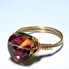 Fiery Amber Swarovski Crystal Heart Ring - GENUINE GOLD Wire   bluembrownlee - Jewelry on ArtFire