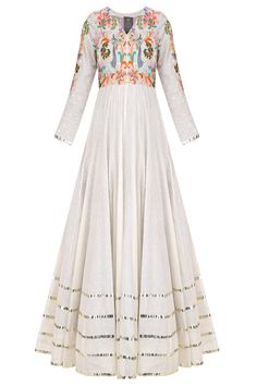 Off white floral embroidered pleated anarkali set available only at Pernia's Pop Up Shop.