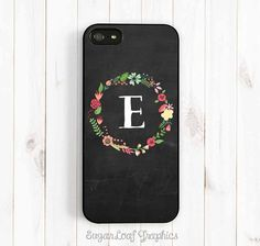Chalkboard iPhone Case, Floral Wreath Personalized Initia, iPhone 4S 5 5s  5c, Samsung Galaxy S3 S4 S5 Case, Samsung Note 3 Case ch11