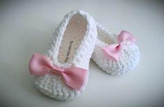 White Crochet Baby Booties, Christening, Baptism, Pink Bow Crochet Booties, Baby Girl Booties via Etsy