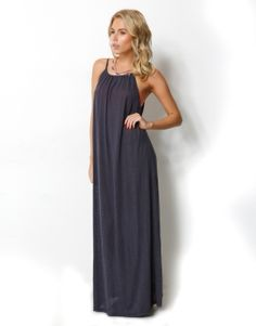 HIGH NECK MAXI DRESS - STRAPPY HIGH GATHERED NECK MAXI DRESS - Casual Dresses