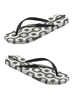 5e33c1a14b8164 Flexible flip flops with bold black and white ipanema tile print footbed  and black thin straps