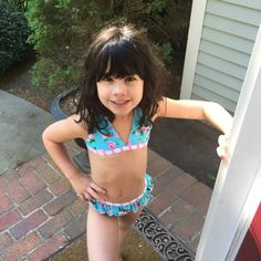 Little Girl Swimsuits, Kids Swimwear, Little Girls, Vogue, Buttons, Sexy, Bikinis, Fashion, Moda