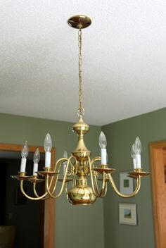 Spray painting chandelier
