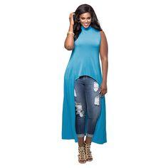 FASHION WOMENS BLUE T SHIRT DRESS SEXY LONG SIDE SLIT SUMMER LONG TSHIRT PARTY WEAR DRESS