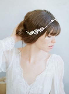 Rhinestone chain and rose bridal headpiece