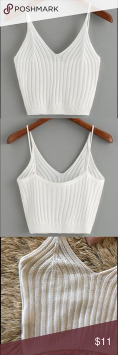 NWOT White Knit Crop Top Not actually UO, there is no brand tag on it so I can't remember where it's from! It's a size Small and is a bit shorter than what you think but it's perfect for festivals this summer! My boobs are a little too big & it would stretch otherwise I'd show you a modeled picture💜 Urban Outfitters Tops Crop Tops