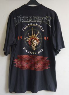 3c116127321f vintage 90s 1995 MEGADETH YOUTHANASIA EUROPEAN TOUR Heavy Metal concert t- shirt  100Cotton  GraphicTee