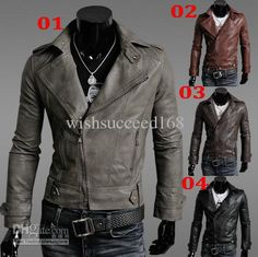 Mens Spring And Autum Leather Motorcycle Jacket Slim Male Leather Coats Casual Turn Down Jackets Jaqueta De Couro Casaco Grey Leather Jacket, Pu Jacket, Riders Jacket, Faux Leather Jackets, Jacket Style, Leather Men, Jacket Men, Leather Coats, Black Leather