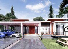 แบบบ้านสวยโมเดิร์นทันสมัย 3 ห้องนอน 3 ห้องน้ำ พื้นที่ใช้สอย 180 ตารางเมตร Model House Plan, Tiny House Plans, Dream Home Design, House Design, One Storey House, Small Cottages, Industrial House, Beach House, Mansions