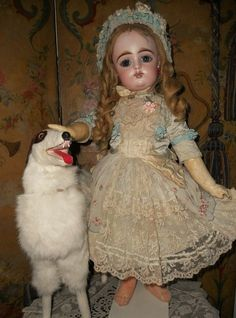 Beautiful French Bisque Bebe by Gaultier with Dramatic Facial Feature - WhenDreamsComeTrue #dollshopsunited