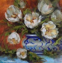 Crescent Moon White Tulips by Nancy Medina Oil ~ 14 x 14