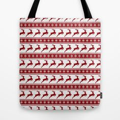 Tote Bag/ Red and White Deer Silhouette/ by KaliLaineDesigns