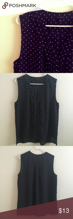 Pink and White Dot Tank Excellent condition tank from Ann Taylor LOFT featuring light pink and muted white dots throughout on a blackish/navy background featuring front pleated V detail. 🚫 trades or modeling 🚫 LOFT Tops Tank Tops