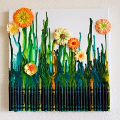 Crayon art + flowers :)