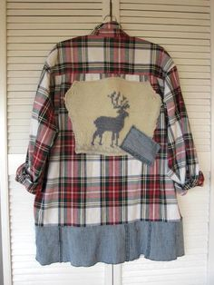 c5e05f9f70604 OOAK upcycled clothing Funky lagenlook plaid tunic repurposed rustic shirt tattered  Jacket deer prairie Farm girl cowgirl plus size