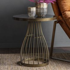 Round Side Table with Smoked Glass Top - Bronze Glass Top Side Table, Side Table Decor, Metal Side Table, Round Side Table, Contemporary Side Tables, Large Coffee Tables, Coffe Table, Occasional Chairs, Table Furniture