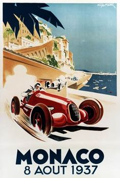 Art Deco Monaco Grand Prix Poster. (Art Deco or deco, is an eclectic artistic and design style that began in Paris in the 1920s and flourished internationally throughout the 1930s and into the World War II era.The style influenced all areas of design, including architecture and interior design, industrial design, fashion and jewelry, as well as the visual arts such as painting, graphic arts and film)