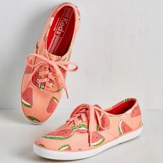 Fruits Fruits and Flatters Sneaker in Watermelon by Keds from ModCloth Keds Shoes, Sock Shoes, Cute Shoes, Me Too Shoes, Shoe Boots, Keds Sneakers, Canvas Sneakers, Crazy Shoes, Dream Shoes