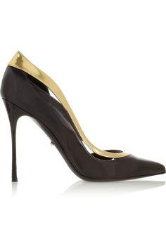 Sergio Rossi Classy Gold Metallic & Black Patent-Leather Stiletto Pumps €530 Fall Winter 2013 #Shoes #Heels