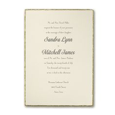 This ecru invitation with golden deckled edges will announce any occasion beautifully. Deckled in Pure Gold Wedding Invitation Jewish Wedding Invitations, Wedding Invitation Message, Wedding Stationery, Online Invitations, Gold Invitations, Anniversary Invitations, 50th Anniversary, Ivory Wedding, Elegant Wedding