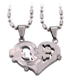 Amazon.com: Creative Titanium Steel Couple Heart-shaped Necklace ,With Annagle Ring Necklace: Beauty