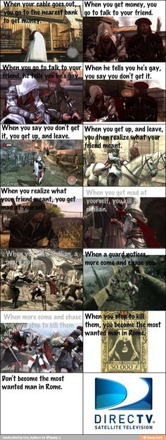 Assassin's Creed meets Direct TV commercial. Lolz.