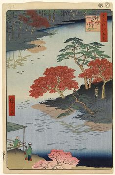 Hiroshige - One Hundred Famous Views of Edo Autumn 91 In the Akiba Shrine at Ukeji (請地秋葉の境内 Ukechi Akiba no keinai?) Garden of Akiba Shrine People depicted in the bottom left might be Hiroshige as a monk with painting utensils,[nb 5] his wife Yasu and their adopted daughter Tatsu according to Henry D. Smith 1857 / 8 Mukōjima, Sumida