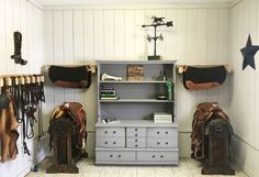 spacious and organized tack room