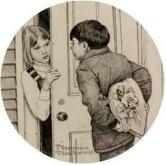 """NORMAN ROCKWELL """" BOY GIVING GIRL A VALENTINE GIFT"""