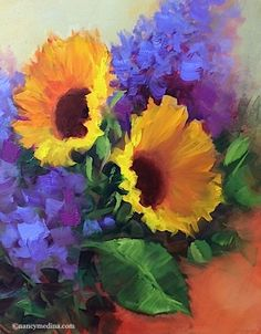 Morning Gifts Sunflowers and a North Texas Workshop - Flower Paintings by Nancy Medina, painting by artist Nancy Medina