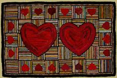 Family Hearts Hooked Rug. The creative heart never ceases to amaze me. So familiar a symbol, done a unique way.