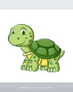The illustration of young turtle with th... | Premium Vector #Freepik #vector #hand #character #cartoon #animals Beach Cartoon, Mermaid Cartoon, Land Turtles, Cute Turtles, Sea Animals Images, Baby Animals, Underwater Cartoon, Turtle Reptile, Octopus Illustration