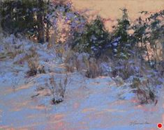 Afterglow by Barbara Jaenicke Pastel ~ x Painting Snow, Winter Painting, Winter Pastels, Wax Art, Winter Landscape, Gallery, Artist, Outdoor, Image