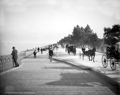 Great photo of Lake Shore Drive in the Lincoln Park area of Chicago, IL. Great view of horse drawn wagons riding on the road while people are walking along the boardwalk on Lake Michigan. This old photo dates to 1905.